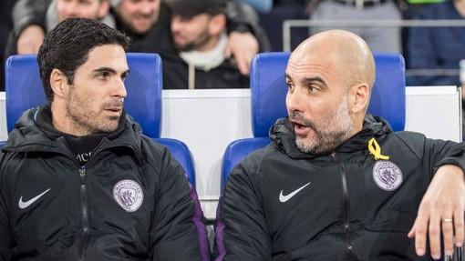 Микель Артета и Хосеп Гвардиола времен совместной работы в «Манчестер Сити»