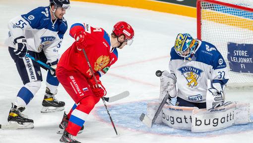 Игровой эпизод матча Россия — Финляндия (05.11.2020)